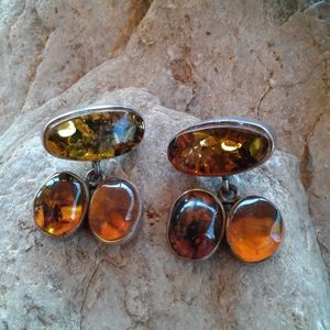 Sterling Silver Amber triple stone earrings